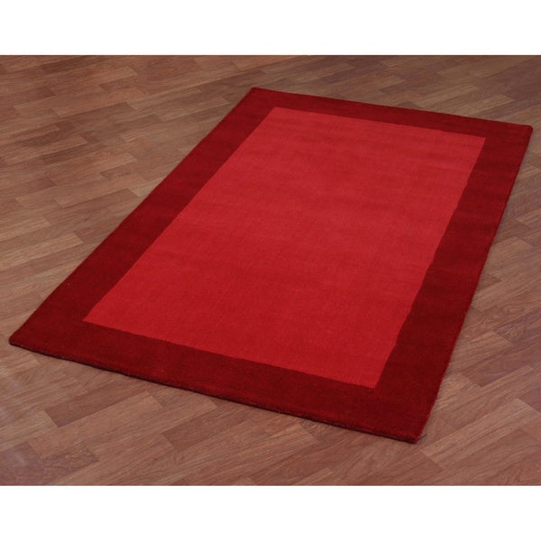 Red Border Pulse Hand-tufted Wool Area Rug (8' x 10') - 8' x 10'