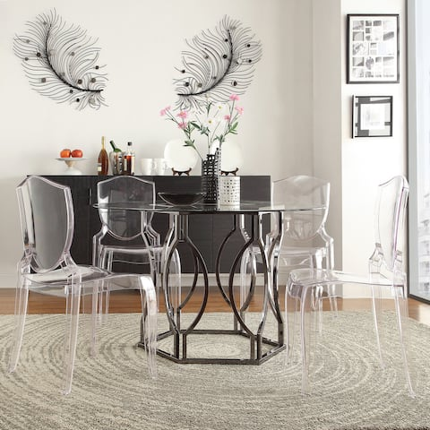 Concord Black Nickel Plated Round Glass Dining Table by iNSPIRE Q Bold - Silver