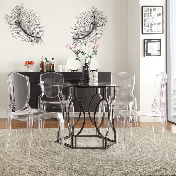 Glass Kitchen Tables For Sale: Shop Concord Black Nickel Plated Round Glass Dining Table
