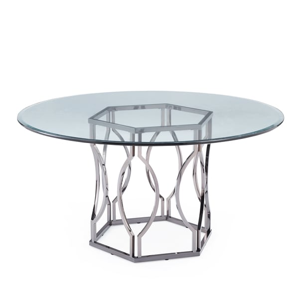 Concord Black Nickel Plated Round Glass Dining Table By INSPIRE Q Bold    Free Shipping Today   Overstock.com   16357759