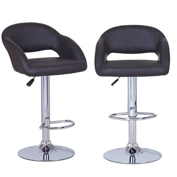 Shop Dark Brown Adjustable Modern Barstool Chairs Set Of