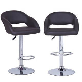 Dark Brown Adjustable Modern Barstool Chairs (Set of 2)