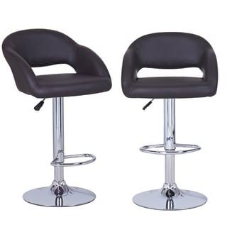 Dark Brown Adjustable Modern Barstool Chairs (Set Of 2)