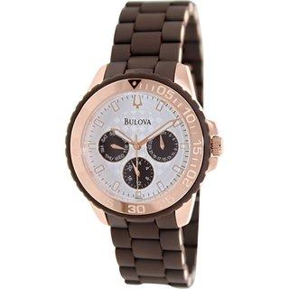 Bulova Men's Sport 98N103 Brown Rubber Quartz Watch with White Dial