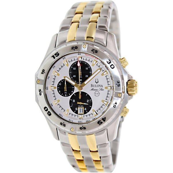 Bulova Men's Marine Star 98B170 Two-Tone Stainless Steel Automatic Watch with White Dial