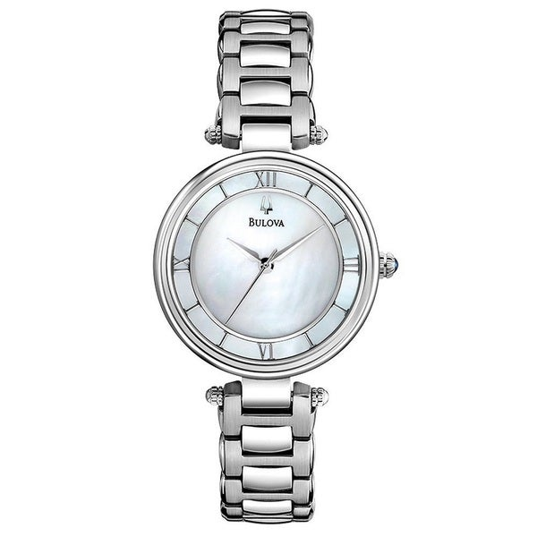 Bulova Women's Dress Silvertone Stainless Steel Quartz Watch with Mother-Of-Pearl Dial