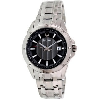 Bulova Men's Classic 96B169 Silvertone Stainless Steel Quartz Watch with Grey Dial