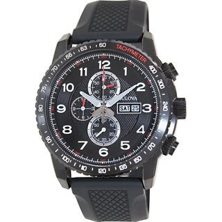 Bulova Men's Marine Star 98C112 Black Rubber Quartz Watch with Black Dial