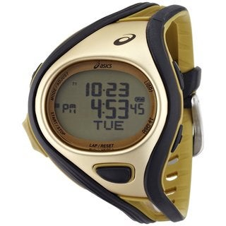 Asics Men's Challenge CQAR0407 Goldtone Polyurethane Quartz Watch with Digital Dial