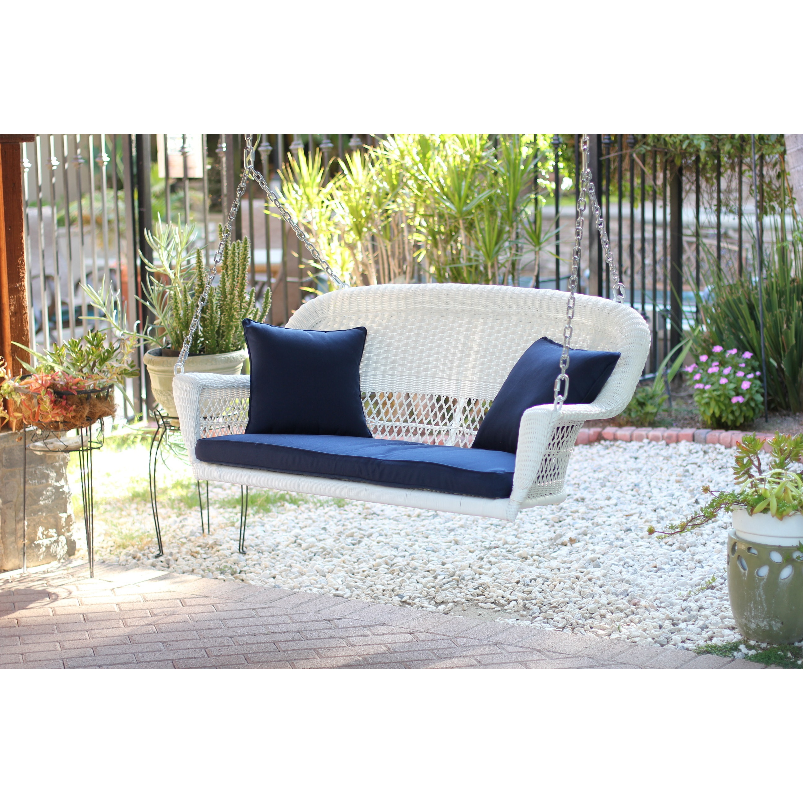 Shop White Resin Wicker Porch Swing With Cushions Overstock