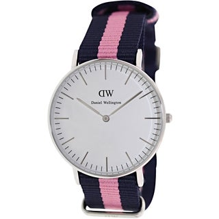 Daniel Wellington Women's Winchester 0604DW Two-Tone Nylon Quartz Watch with White Dial