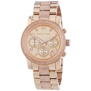 Michael Kors Women's Glitz MK5827 Rose-Goldtone Stainless Steel Quartz Watch with Rose-Goldtone Dial