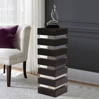 Stepped Black Espresso Wood Veneer Pedestal with Mirror