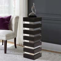 Stepped Black Espresso Wood Veneer Pedestal with Mirror