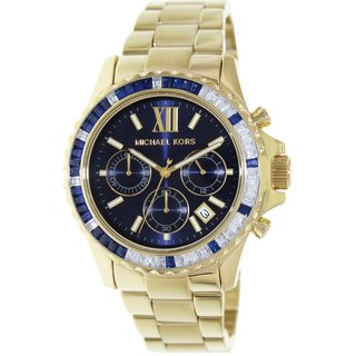 Michael Kors Women's Everest Goldtone Stainless Steel Quartz Watch with Blue Dial