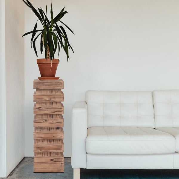 37-inch Stepped Natural Wood Pedestal