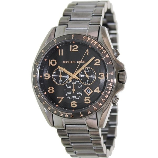 michael kors men s mk8255 grey stainless steel quartz watch michael kors men s mk8255 grey stainless steel quartz watch black dial