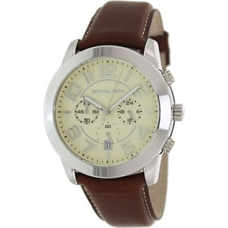 Michael Kors Men's MK8292 Brown Leather Quartz Watch with Beige Dial