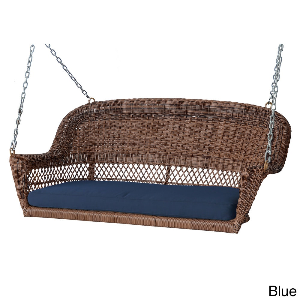 Jeco Honey Resin Wicker Porch Swing with Cushions (Blue) ...