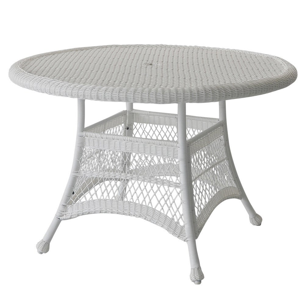 Round Resin Wicker Dining Table   Overstock   9