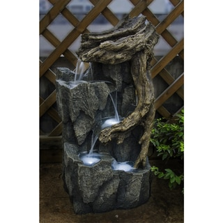 Tree Trunk and Rocks Fountain with LED Light