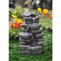 Rock and Pot Waterfall Water Fountain