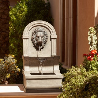 Classic Lion Face Stone Finish Wall Water Fountain
