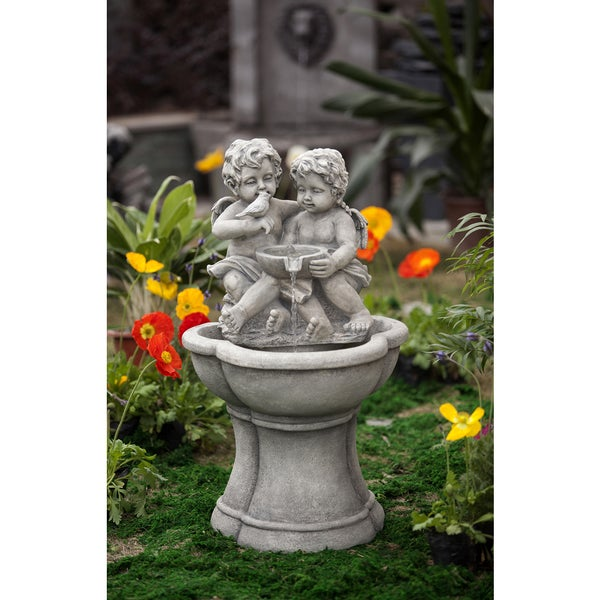 Shop Cherub Water Fountain With Led Light Free Shipping