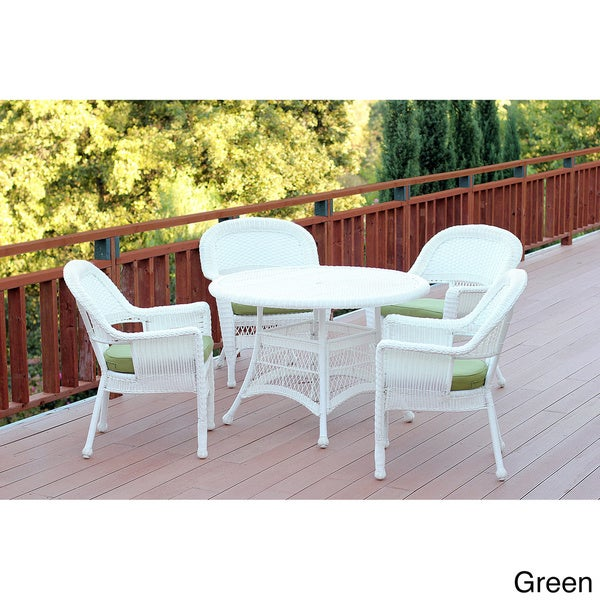 5-piece White Resin Wicker Dining Set