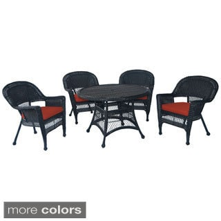Black Wicker 5-piece Cushioned Outdoor Dining Set