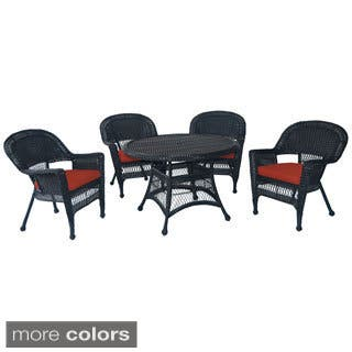 Black Wicker 5-piece Cushioned Outdoor Dining Set|https://ak1.ostkcdn.com/images/products/9183552/P16357951.jpg?impolicy=medium