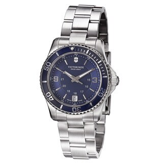 Swiss Army Women's 241609 'Maverick' Blue Dial Stainless Steel GMT Quartz Watch