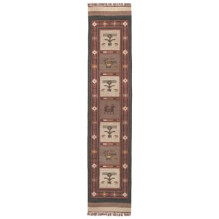 "Hand-woven Tribal Wool & Jute Runner Rug (2'6 x 12') - 2'6"" x 12'"