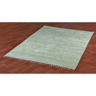 Green Reversible Chenille Flat Weave Area Rug (10' x 14')