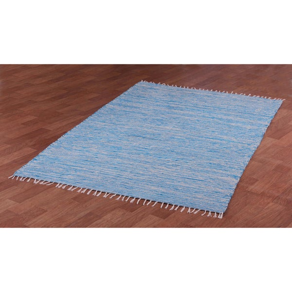 Aqua Reversible Chenille Flat Weave Area Rug (10' x 14') - 10' x 14'