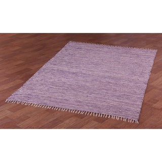 Purple Reversible Chenille Flat Weave Area Rug (10' x 14') - 10' x 14'
