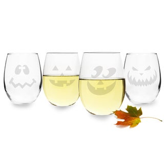 Halloween Jack O'Lantern Stemless Wine Glasses (Set of 4)