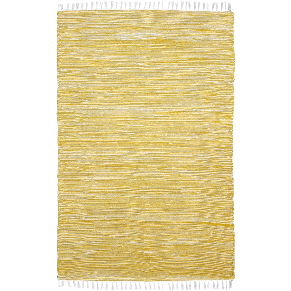 Yellow Reversible Chenille Flat Weave Area Rug (10' x 14') - 10' x 14'