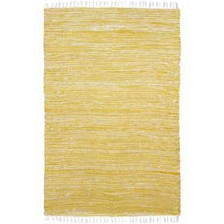 Yellow Reversible Chenille Flat Weave Area Rug (9' x 12') - 9' x 12'