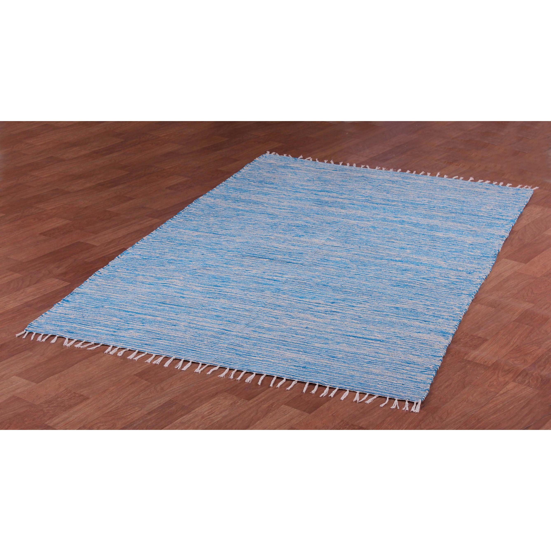 Aqua Reversible Chenille Flat Weave Area Rug (9' x 12') (...