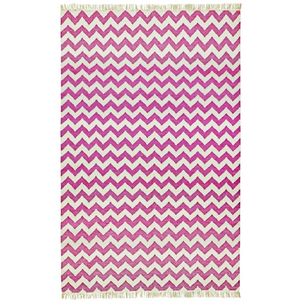 Hand-woven Orchid Electro Wool Flat Weave Area Rug (9' x 12') - 9' x 12'