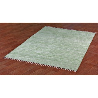 Green Reversible Chenille Flat Weave Area Rug (3' x 5')