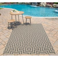 "Momeni Baja Retro Grey Indoor/Outdoor Area Rug (8'6 x 13') - 8'6"" x 13'"
