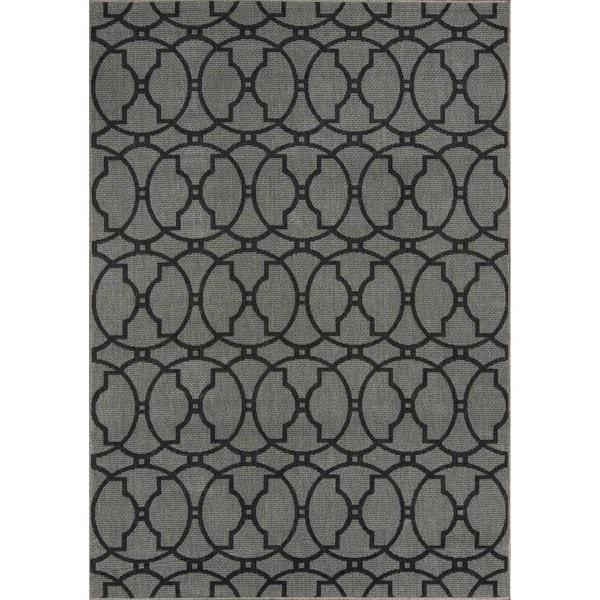"Momeni Baja Moroccan Tile Charcoal Indoor/Outdoor Area Rug - 8'6"" x 13'"