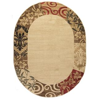 """Well Woven Vane Willow Damask Floral Border Ombre Gradient Beige, Red, Brown, and Ivory Oval Rug - 5'3"""" x 6'10"""""""