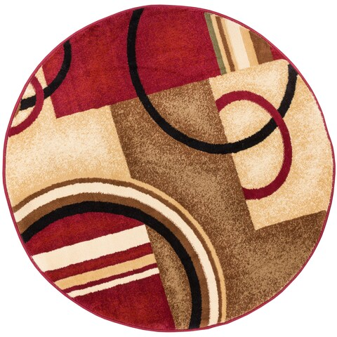 Well Woven Arcs and Shapes Abstract Modern Circles and Boxes Red Ivory Beige Round Rug - 7'10