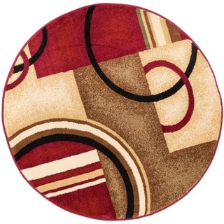 Arcs and Shapes Abstract Modern Circles and Boxes Red, Ivory, and Beige Area Rug (7'10 Round)