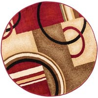 Arcs and Shapes Abstract Modern Circles and Boxes Red, Ivory, and Beige Area Rug - 7'10