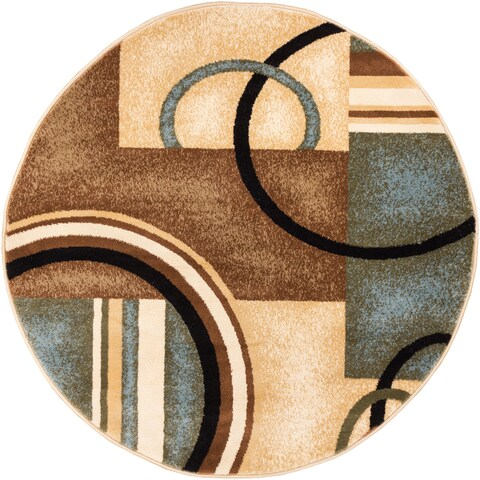 Well Woven Generations Modern Abstract Circles Light Blue, Beige, Ivory, and Brown Round Rug - 5'3