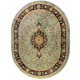 Medallion Traditional Light Blue Oval Area Rug (5'3 x 6'1)